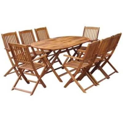 Bộ bàn ăn gỗ keo hiện đại với 8 chỗ ngồi