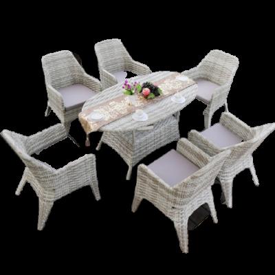Bàn ghế ăn kết hợp phòng khách bằng mây nhựa