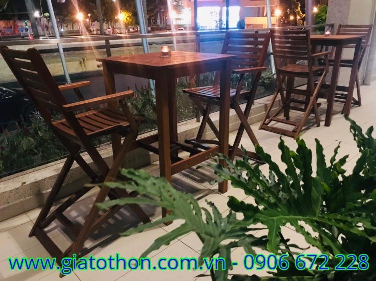 bàn ghế cafe gỗ thanh lý