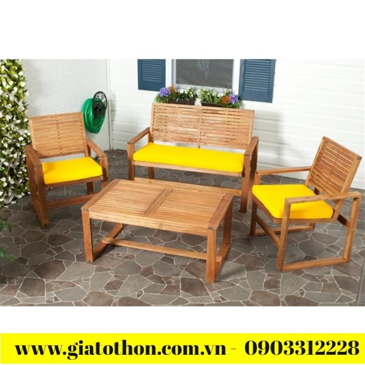 bàn ghế gỗ ngoài trời thanh lý
