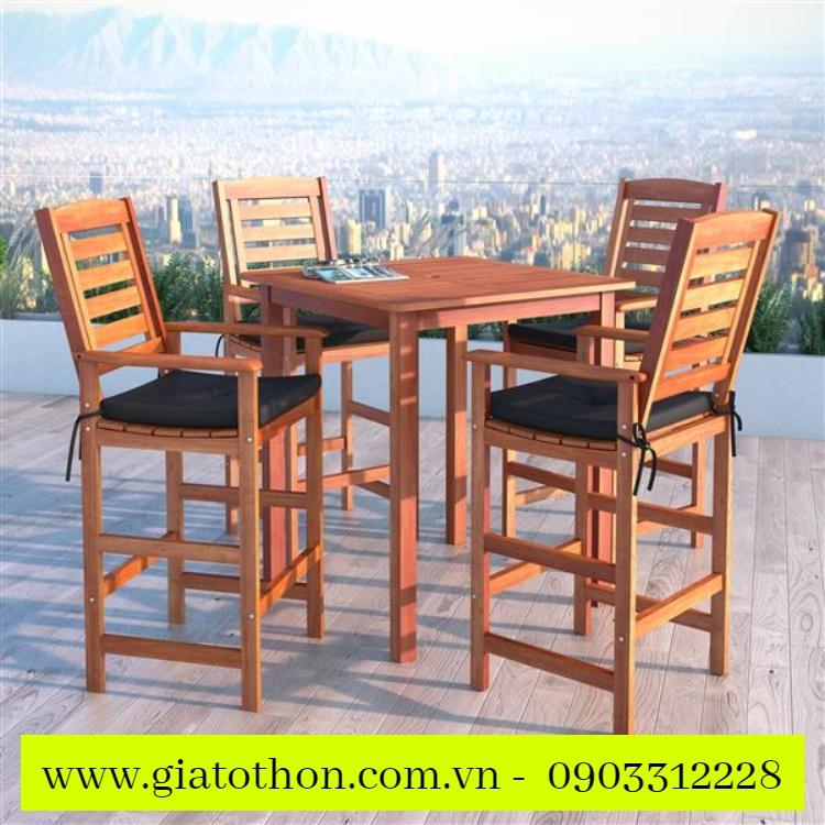 bàn ghế gỗ ngoài trời thanh y